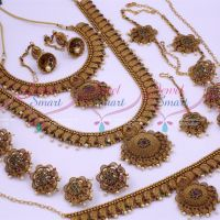 Antique Bridal Matte Reddish Floral Design South Indian Gold Finish Wedding Dulhan Jewellery Full Set Latest Collections