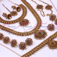 Antique Bridal Matte Reddish Floral Design Red Stones South Indian Gold Finish Wedding Dulhan Jewellery Full Set Latest Collections