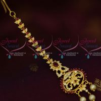 AD Forehead Jewelry Ruby White Maang Tikka Nethichutti Light Gold Plated Shop Online