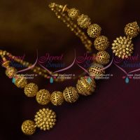 Antique Dull Gold Plated Handmade Beads Mala Matching Earchains Shop Online Low Price