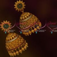 Floral Design Nakshi Matte Antique Gold Plated Fashion Jewelry Jhumka Earrings