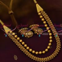 Antique Jewelry Jalimala 2 Layer Beaded Jewelry Jhumka Earrings Latest Fashion Online