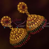 Antique Reddish Gold Plated Red Green Bead Drops Jhumka Earrings Latest Designs Online