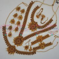 South Indian Floral Antique Bridal Jewelry Full Set Latest Matte Gold Reddish Finish Online