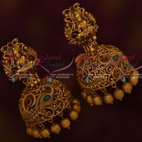 Temple Jewellery Broad Jhumka Earrings Red Green Stones Party Wear Collection Online