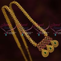 AD Ruby Emerald Pendant Low Price Gold Plated Chain South Indian Jewellery Online