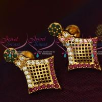 South Indian AD Earrings Mult Colour Net Design Screw Lock Casual Wear Jewelry Online