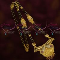 AD Stones 16 Inches Long 2 Line Mangalsutra Forming Gold Nalla Pusalu Mala Online