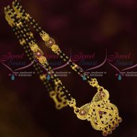 One Gram Gold Forming Manglasutra 2 Line 15 Inches Black Beads Mala Shop Online