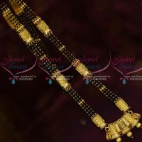 Black Beads Mala Long Necklace AD Stones Forming Gold NallaPusalu Jewelry Online