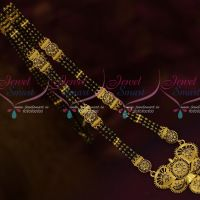 3 Line Black Beads Nalla Pusalu Mala Long Necklace One Gram Gold Jewelry Designs Online