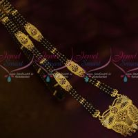 One Gram Gold Plated Jewelry Nalla Pusalu Black Beads 3 Line Haram Online