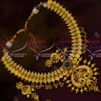 Temple Coin Necklace One Gram Gold Ruby Emerald Traditional Real Look Designs