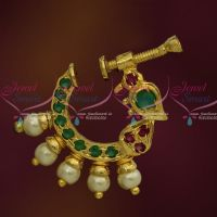 Ruby Emerald Pearl Peacock Design Nose Pins Non Piercing Type Latest Fashion Jewellery Screw Press