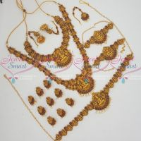 South Indian Temple Bridal Jewelry Full Set Latest Matte Gold Reddish Finish Online