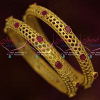 Oval Ruby Stones Net Design Latest Fancy Light Matte Gold Plated Bangles Online