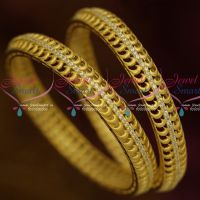 Matte Light Gold Finish AD Single Line Stone Stylish Design Bangles Shop Online