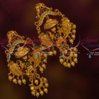 Big Broad Bell Design Double Step Polki AD Stones Jhumka Earrings Antique Gold Plated Online