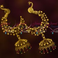 Antique Peacock Fancy Jhumka Red Green Crystal Drops Latest Fashion Jewelry Online