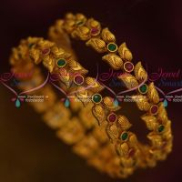 Mango Design Intricate Work Antique Reddish Matte Ruby Emerald Stones Bangles Online