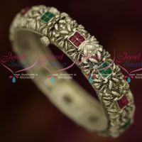 Antique Oxidised Silver Plated Matte Finish Single Piece Screw Open Kada Bangles Online