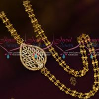 Double Chain Peacock AD Mugappu Latest South Indian Gold Covering Jewelry Online
