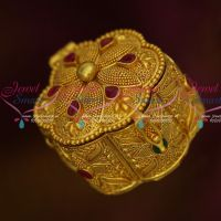 Gold Plated Ruby Emerald Stones Sindoor Box Latest Intricate Work Designs Online