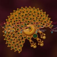 Peacock Broad Design Emerald Stones Fancy Hair Clip Womens Accessory Online
