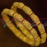 Matte Gold American Diamond Jewelry Neli Bangles Stylish Imitation Designs Online