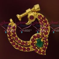 Ruby Emerald Peacock Design Screw Lock Gold Plated Non Piercing Nose Ring