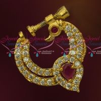 Ruby White Peacock Design Screw Lock Gold Plated Non Piercing Nose Ring