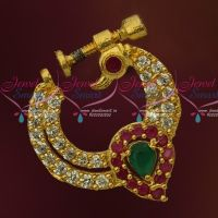 Multi Color Peacock Design Screw Lock Gold Plated Non Piercing Nose Ring