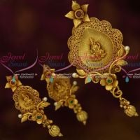 Big Size Antique Dull Gold One Gram Plated Temple Jewelry Pendant Earrings Latest Designs Online