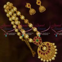 Cream Colour Shell Pearls Beaded Floral Caps Kemp Pendant Latest South Indian Jewelry Online