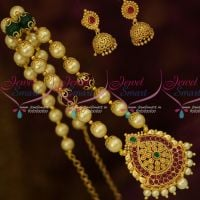 South Indian Kemp Gold Covering Pendant Shell Pearl Mala Beaded Jewelry Online