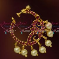 Ruby Stones Gold Plated Screw Lock Wear Nose Pins Ring Shop Online