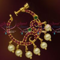 Ruby Emerald Stones Gold Plated Screw Lock Wear Nose Pins Ring Shop Online