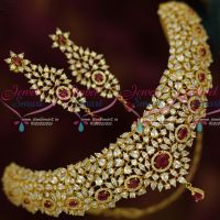 Solitaire AD Concept Dazzling Choker Necklace Red White Stones Latest Fashion Shop Online