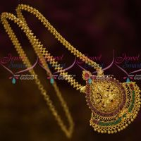 South Indian Gold Covering Ghajiri Chain Temple Pendant Ruby Emerald Stones Online