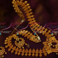 Lord Ganapathy Laxmi Design Haram Gold Plated Matte Reddish Jewelry Traditional Real Look