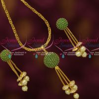 Fancy Emerald Ball 18 Inches Chain Drops Earrings Latest Fashion Jewelry Online