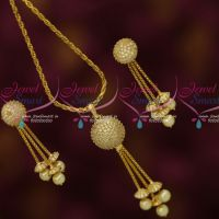 White AD Stones Ball Pendant Earrings Gold Plated Chain Latest Stylish Jewelry Online
