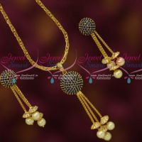 Sapphire Blue AD Stones Ball Pendant Earrings Gold Plated Chain Latest Stylish Jewelry Online