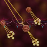 Ruby AD Stones Ball Pendant Earrings Gold Plated Chain Latest Stylish Jewelry Online