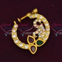 AD Semi Precious Stones Screw Nath Nose Pin Gold Plated Party Wear Jewellery Online