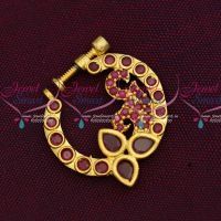 Ruby Stones Screw Nath Nose Pin Gold Plated Party Wear Jewellery Online