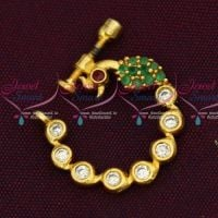 Fancy Gold Plated AD Jewellery Nath Nose Pin Mookuthi Screw Lock Jewelry Online