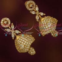 South Indian Jewelry AD Stones Screwback Jhumka Earrings Gold Plated Latest Online