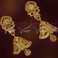 AD Stones Stylish Jhumka Earrings Latest Design Screwback South Indian Jewellery