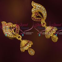 Peacock Stylish AD Stones South Indian Gold Plated Jewellery Jhumka Earrings Online
